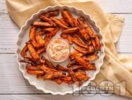 Печени ароматни сладки картофи на фурна с майонезен сос